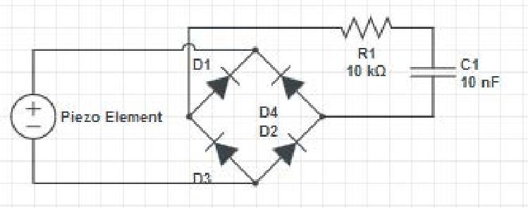Experimental piezoelectric capacitor charging circuit