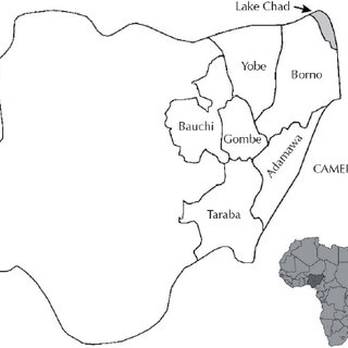 Map of Nigeria showing the six states of Northeas- tern