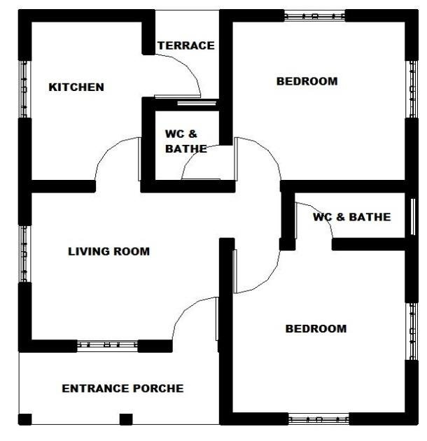 A two dimensional drawing showing the ground floor plan of