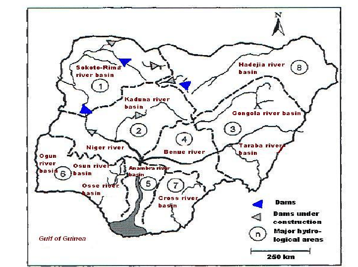 Map of Nigeria showing major rivers and hydrological
