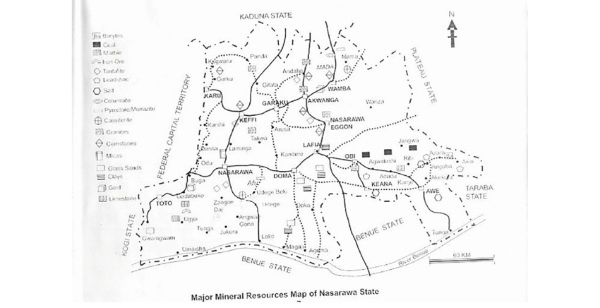 Major Mineral Resources Map of Nasarawa State (Adapted