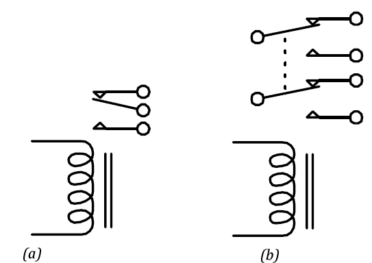 (a) An SPDT Relay Circuit Schematic (b) A DPDT Relay