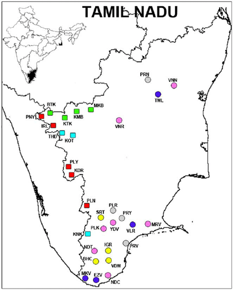 Tamil Nadu map showing the sampling location of the 12