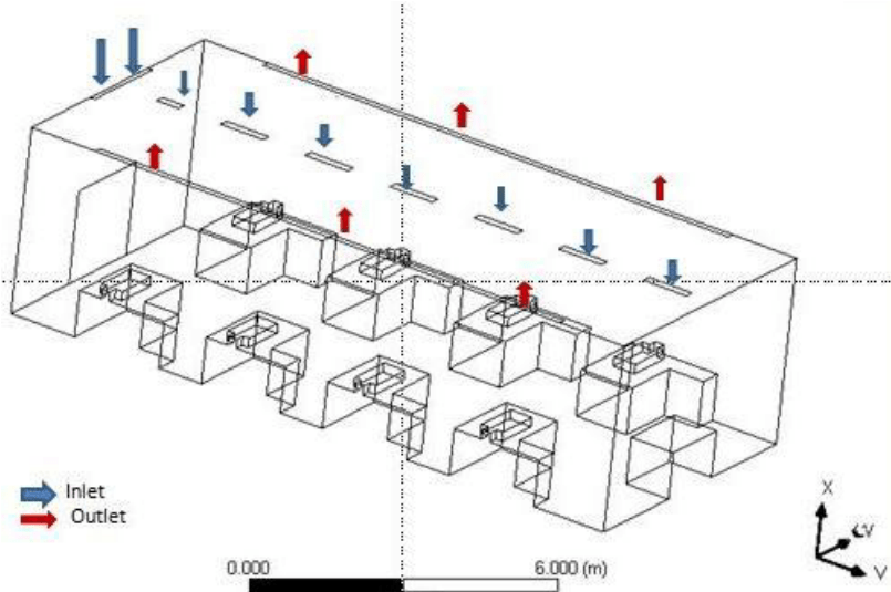 b): Isometric View of general ward of hospital