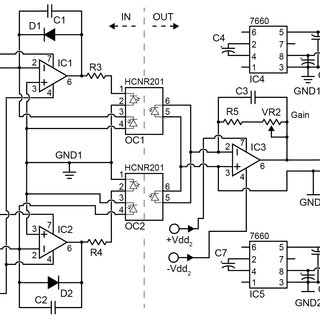Electronic schematic of the bipolar optocoupler circuit