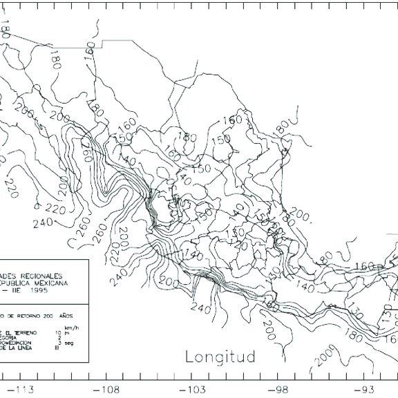 1 Mapa de isotacas asociado con un periodo de retorno de