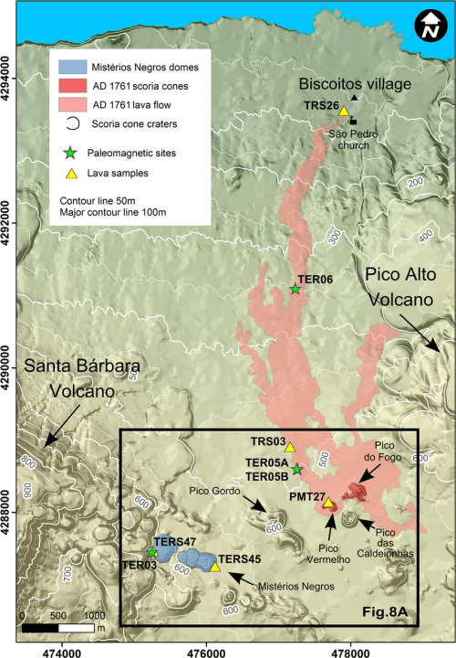 small resolution of map showing extent of ad 1761 lava flow associated scoria cones and download scientific diagram