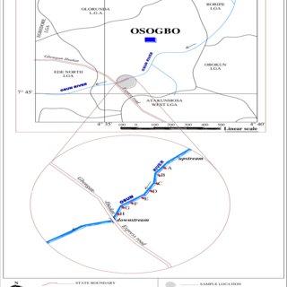 Map of samples on Osun River in Osogbo L.G.A., Osun state