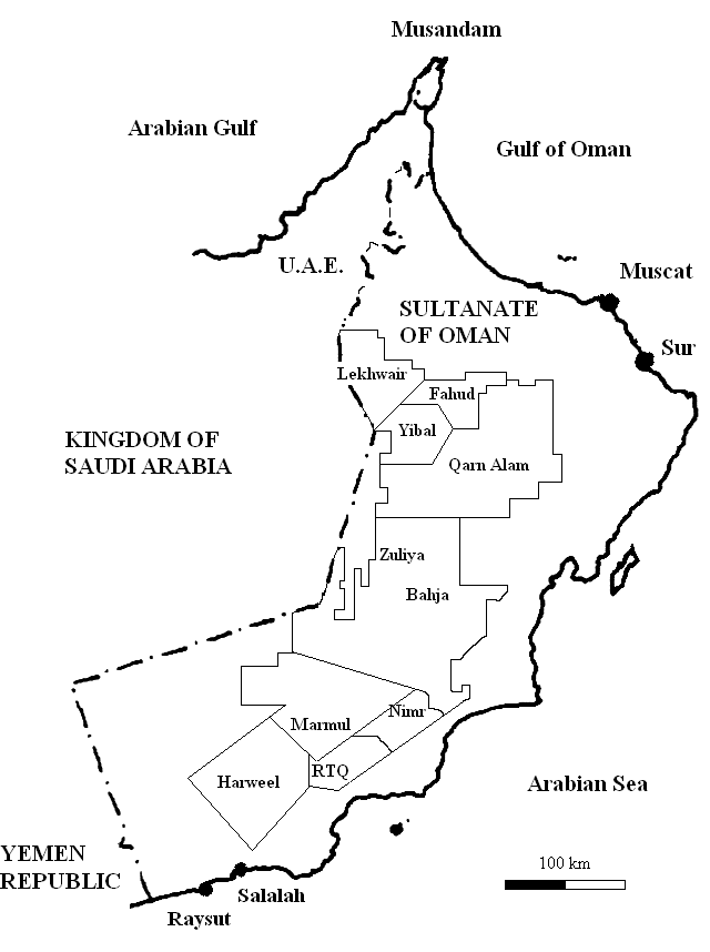 4: Map of the Sultanate of Oman with Petroleum Development