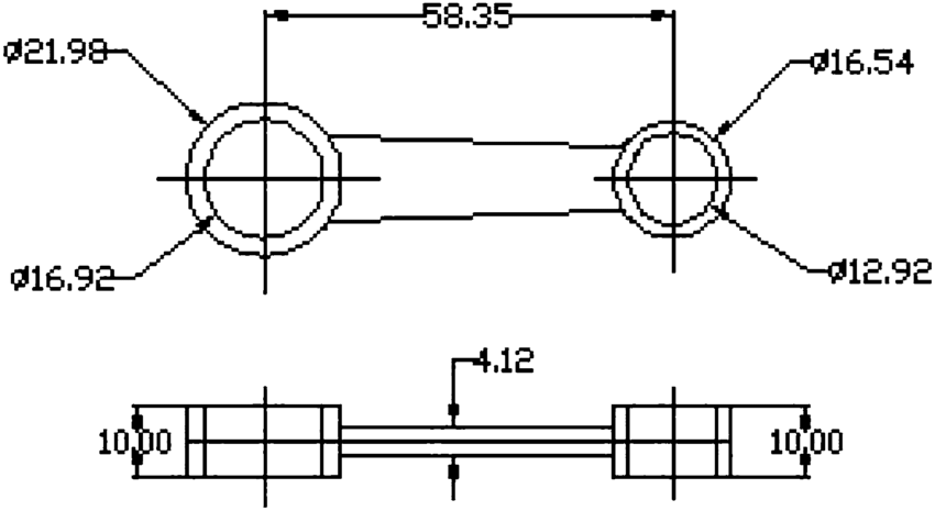 Required specifications of the connecting rod (all