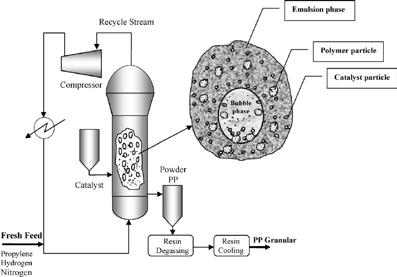 Schematic of an industrial fluidized-bed polypropylene