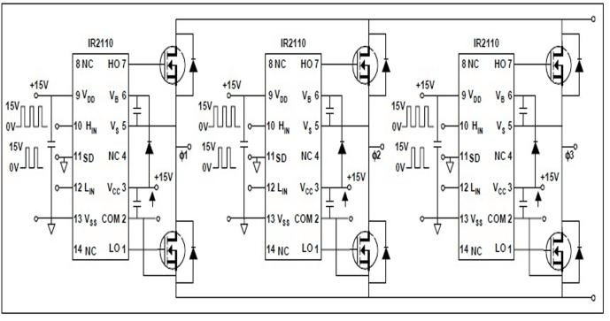 Circuit diagram of power circuit of the inverter