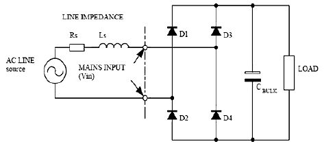 Schematic diagram of a single phase diode rectifier with