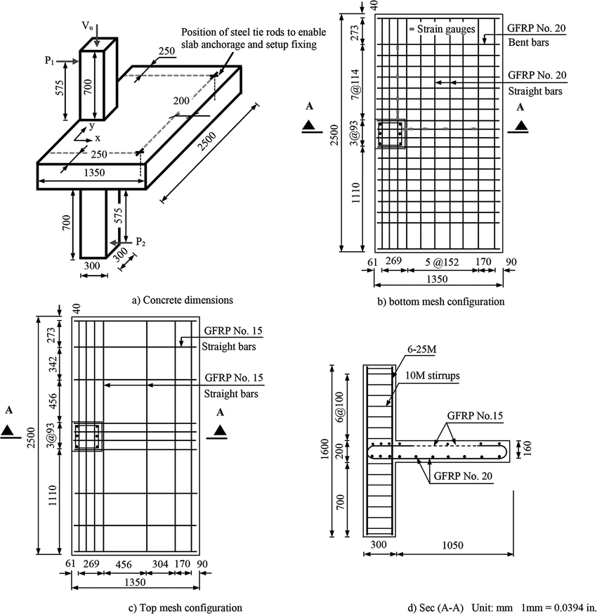 Typical slab geometry and reinforcement details
