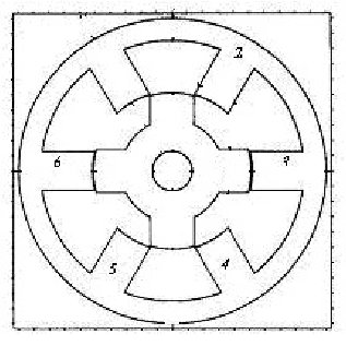 Switched reluctance motor. The schematic diagram of the