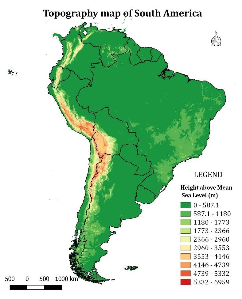 """The project was launched in late 2009, and the term """"us topo"""" refers specifically to quadrangle topographic maps published in 2009 and later. Topography Map Of South America Depicting The Different Geographical Download Scientific Diagram"""