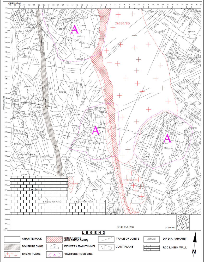 hight resolution of geological map of the north vertical wall of pump house