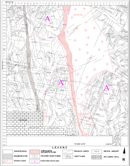 small resolution of geological map of the north vertical wall of pump house