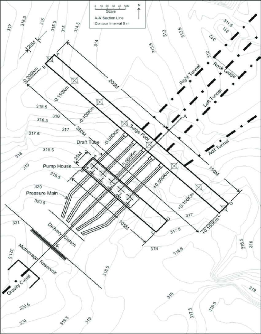 medium resolution of plan map of the surge pool and pump house area