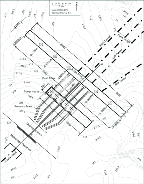 small resolution of plan map of the surge pool and pump house area