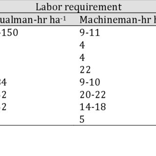 Labor requirements in manual and mechanized rice