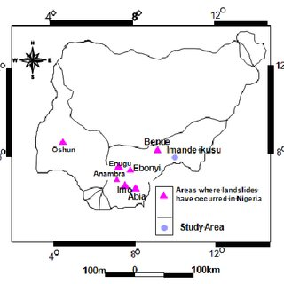 Map of Nigeria showing areas where landslides have