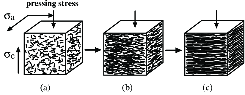 Schematic picture of compressed EG with various densities