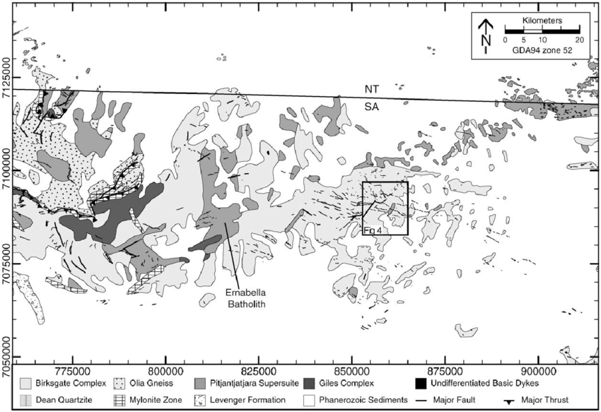 Generalised geology of the eastern Musgrave Province, at 1