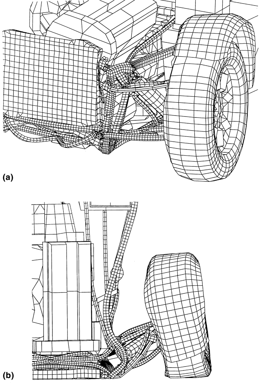 auto mobile front end diagram blocked tear duct predicted deformed shape of vehicle at 30 ms after impact a