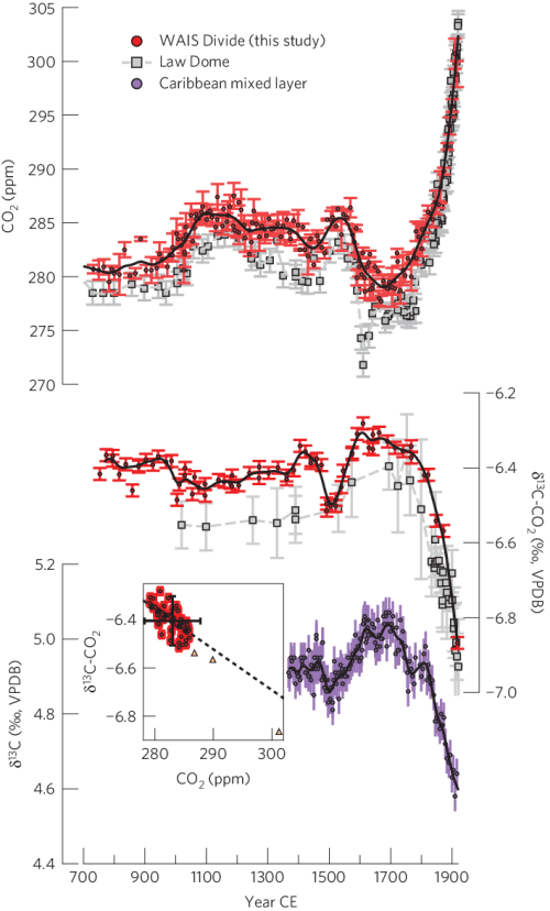small resolution of carbon cycle variability of the past millennium co 2 and