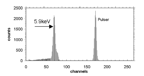 Spectrum of Fe-55 obtained with the detector TL16-3-1