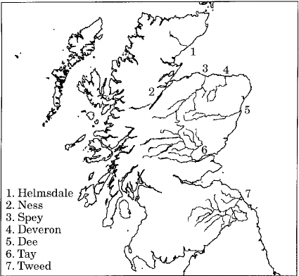 Map of Scotland showing the location of the seven river