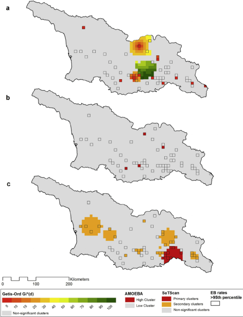 small resolution of spatial clusters of human cutaneous anthrax hca incidence based on 8 8
