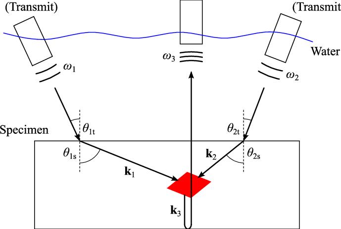 Immersion shear + shear → longitudinal wave-mixing