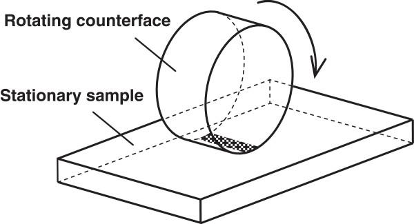 A sliding tribosystem model: cylindrical roller rotating
