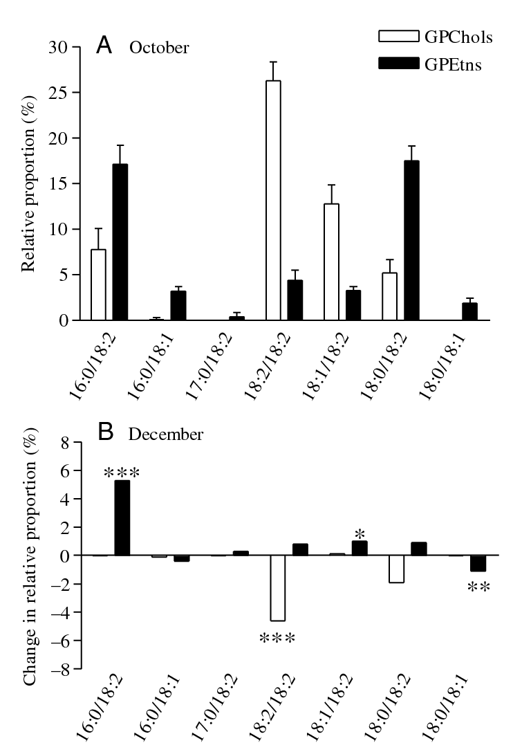 hight resolution of restructuring of glycerophospholipid composition in fat body tissue membranes of pyrrhocoris apterus during the field acclimatization
