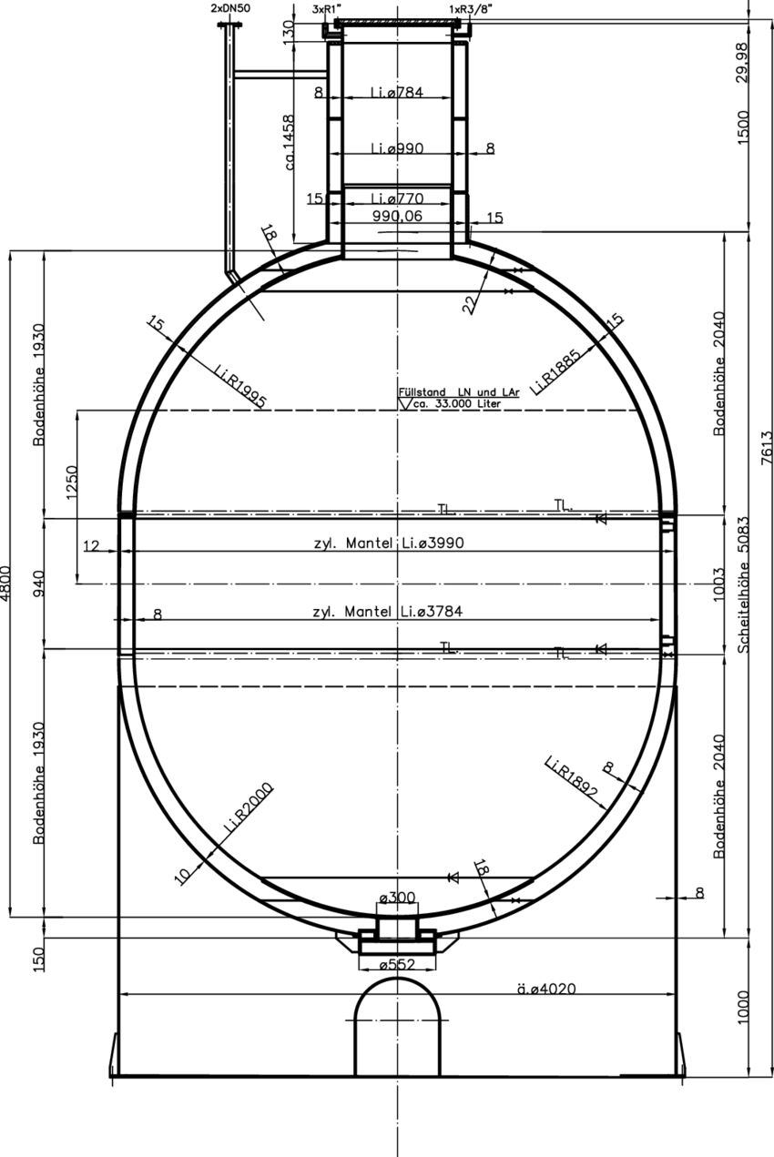 hight resolution of cross section of a superinsulated vessel for ln or lar fabricated from copper except a part