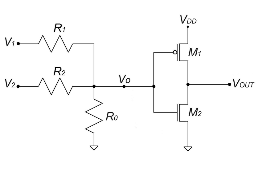 The circuit diagram of the proposed resistive divider