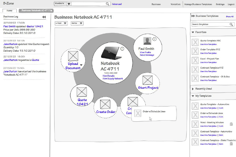 Business Template Exchange Wireframe in 'B-Zone' Artifact