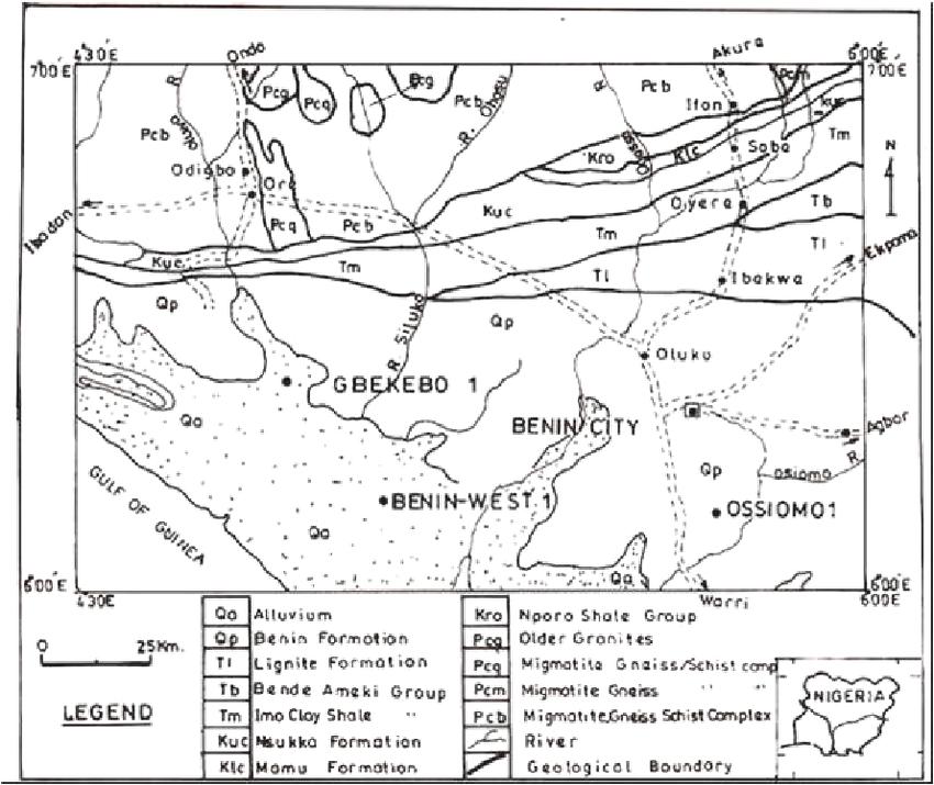 Geology Map of Part of the Benin Basin, Southwestern