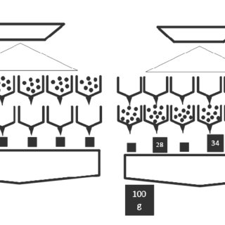 Arrangement of feeders and hoppers of a radial multihead