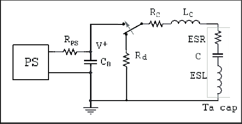 A schematic of the surge current test with consideration