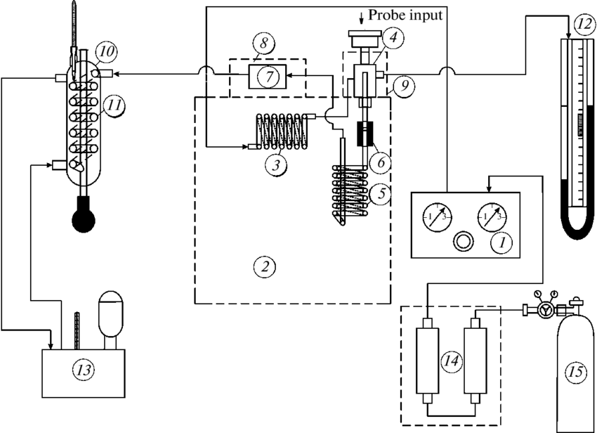 Schematic diagram of the chromatographic setup: (1) gas