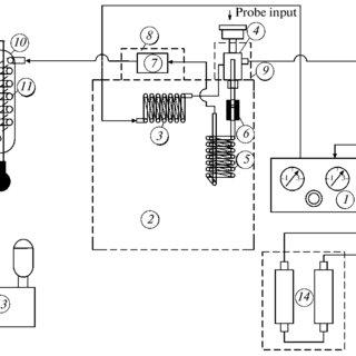 Schematic diagram of the chromatographic setup: (1) gas