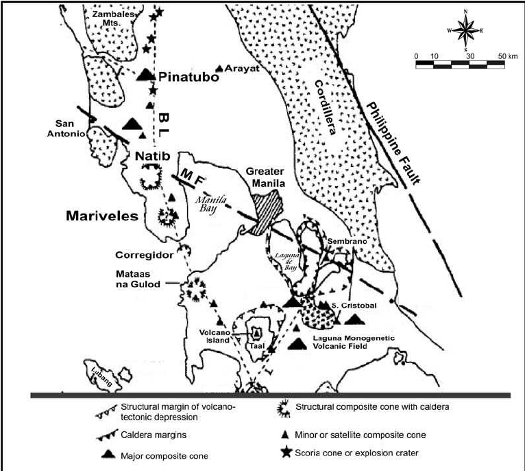 Map showing the locus of volcanism along the Bataan