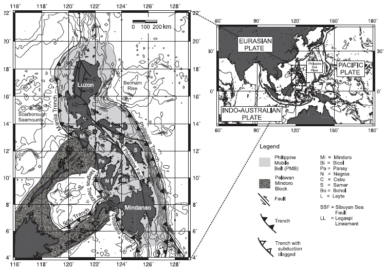 A) Map showing the main plates surrounding the Philippine