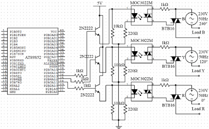 Microcontroller, optocouplers and triacs circuit