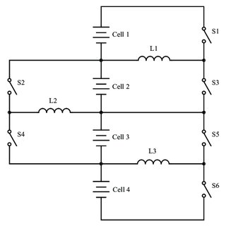 The freewheeling path for the inductor current when the