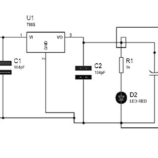 Power Supply Circuit Diagram (D1, D2 Diodes), U1= Voltage