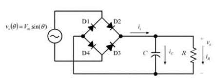 Full-wave single phase uncontrolled rectifier circuit with